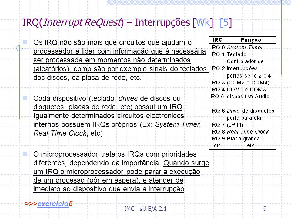 IRQ(Interrupt ReQuest) – Interrupções [Wk] [5]